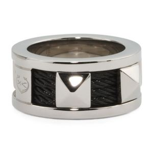 CHARRIOL Sz 7.5 Forever Black PVD Steel Cable Ring